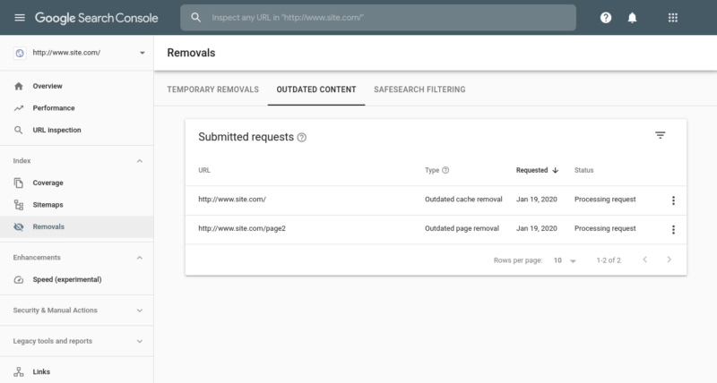 Google Search Console Outdated Content