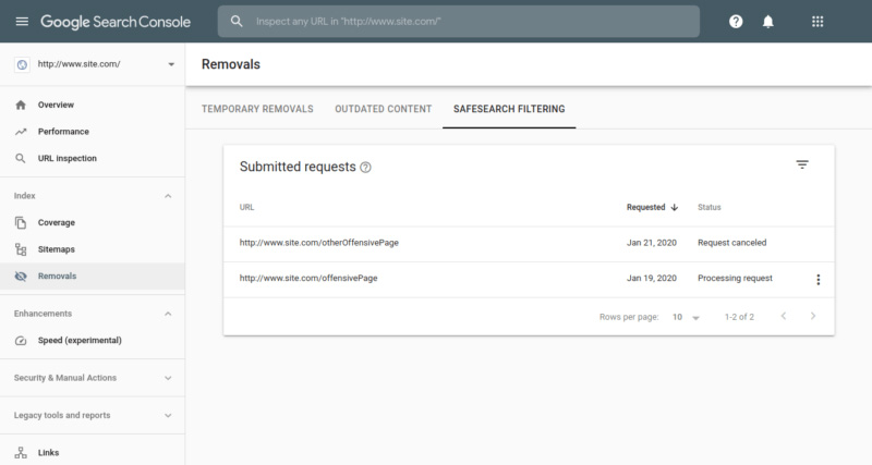 Google Search Console SafeSearch Filtering